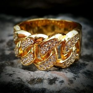 14k Gold Plated Cuban Link Simulated Diamond Ring